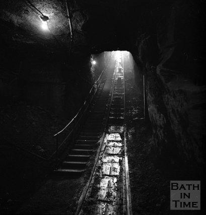 The slope shaft at Monks Park mine, near Corsham, 20 September 1973