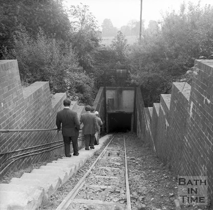 Descending the slope shaft at Monks Park mine, near Corsham, 20 September 1973