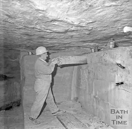 Working a block of Bath Stone underground at Monks Park mine, near Corsham, 20 September 1973