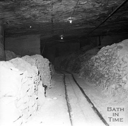 Inside Monks Park stone mine, near Corsham, 20 September 1973