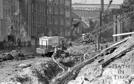 Work on the river path by Green Park opposite the Newark Works, Bath, September 24 1973