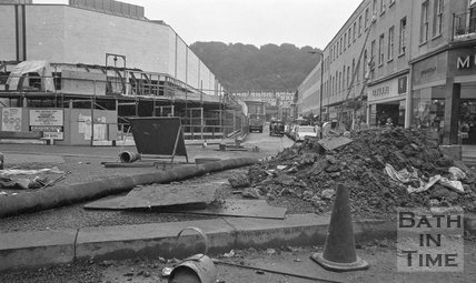 View down Southgate Street past the almost completed Shopping Centre, 26 September 1973