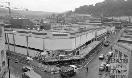Looking down on the almost completed Southgate Shopping Centre, Bath, 26 September 1973