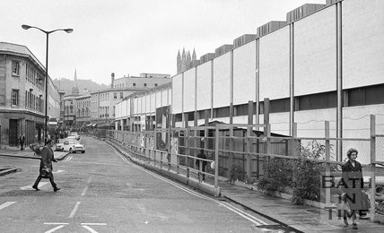 Looking up Southgate Street with the new Southgate Shopping Centre on the right, Bath, 26 September 1973