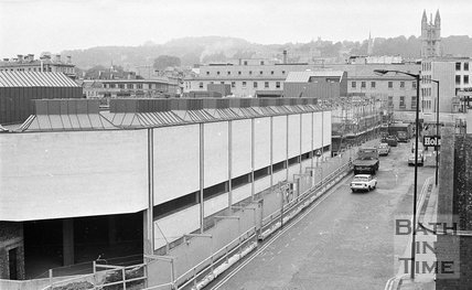 The back view of the Southgate Shopping Centre nearing completion, Bath, 26 September 1973