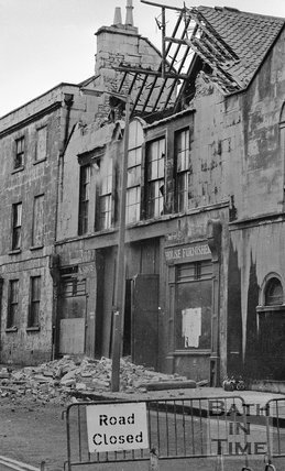 The demolition of the Georgian Riding School on Julian Road, Bath, October 1973