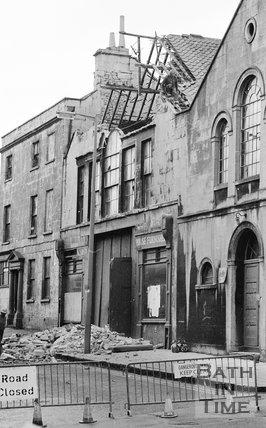 The demolition of the Georgian Riding School on Julian Road, Bath, October 1973