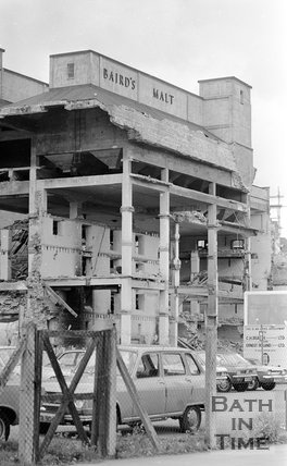 The demolition of the Baird's Malt Building, Broad Quay, Bath, 15 May 1974