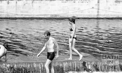 Swimmers at the weir at Pulteney Bridge, Bath, 28 June 1980