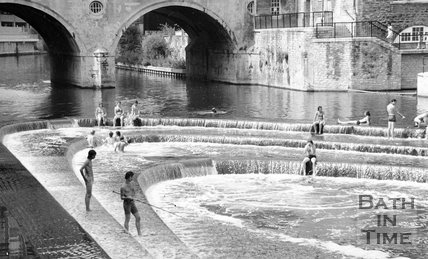 Swimmers at the weir at Pulteney Bridge, Bath, 28 June 1982