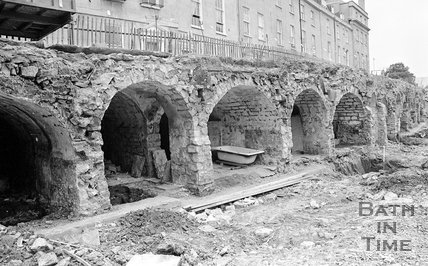 The vaults exposed after demolition of houses on Great Stanhope Street, Bath, 27 June 1983
