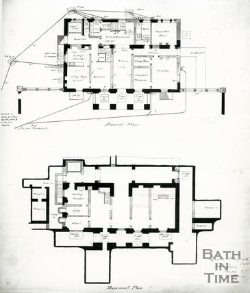 Ground floor and basement plan of the Holburne Museum, Bath, c.1911