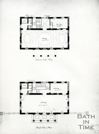 First and second floor plan of the Holburne Museum, Bath, c.1911
