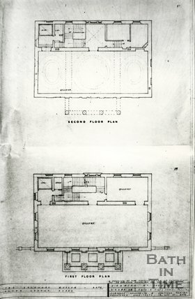 Tracing of first and second floor plan of the Holburne Museum, Bath, 1967