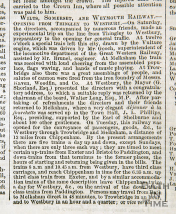 Newspaper article recording the opening of the Wilts, Somerset and Weymouth Railway, 2 September 1848