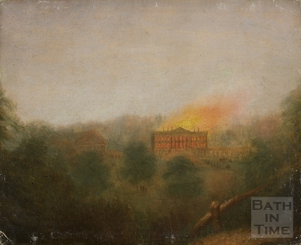 Prior Park, Bath on fire 1836