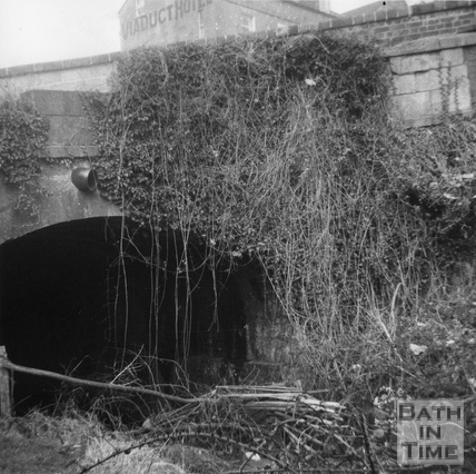 The Somersetsetshire Coal Canal tunnel under the A36 Warminster Road, Monkton Combe c.1951