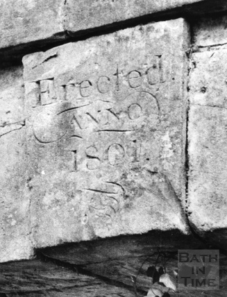 Inscribed keystone of accommodation bridge over the Somersetshire Coal Canal, South Stoke c.1951