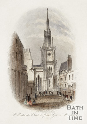 St. Michael's Church from Green Street, Bath c.1850?