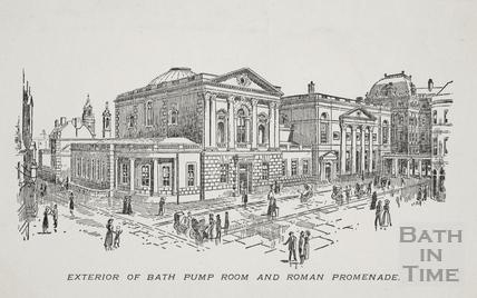 Exterior of the Bath Pump Room and Roman Promenade, Bath c.1900