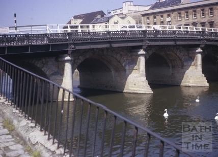 Old Bridge looking downstream, Bath c.1963