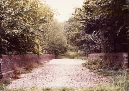 The bridge over Hiscocks Drive on the abandoned Somerset & Dorset Joint Railway, Bath 1970s