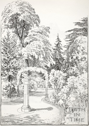 The sundial in the Botanic Gardens, Victoria Park, Bath c.1890-1920