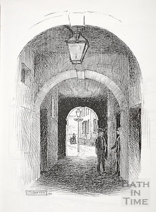 Entrance to Chapel Court from behind the Cross Baths, Bath 1911