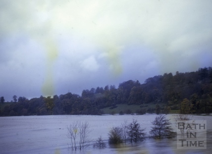 Floods, looking west from Newbridge, Bath 1963