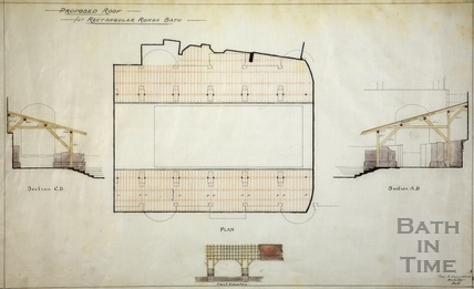 Proposed roof for Rectangular Roman Bath, Bath c.1880