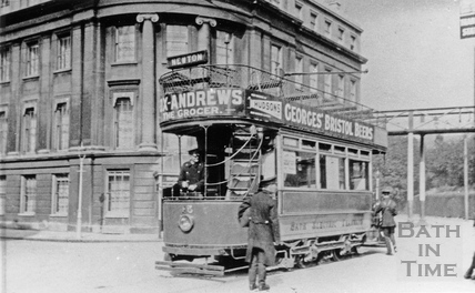 Bath Electric tram, Railway Place, Bath c.1930