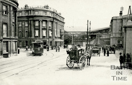 Royal Hotel and bridge to Bath Spa station, Bath c.1904