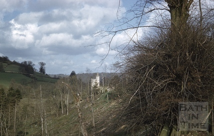 The ruined gothic folly in the grounds of Midford Castle c.1965