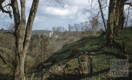 View across to the ruined gothic folly in the grounds of Midford Castle c.1965