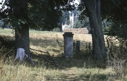 Gatepost looking towards Midford Castle and chapel 1966