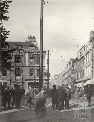 Kingsmead Square, looking down Kingsmead Street, Bath 1922