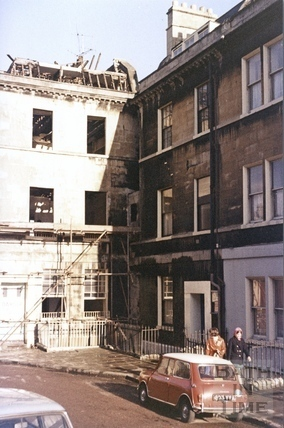 The top of Portland Place, Bath during demolition c.1972