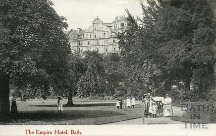The Empire Hotel from Institution Gardens, Bath 1905