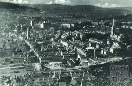 Bath from Beechen Cliff at night c.1905