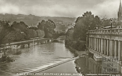 River Avon from Pulteney Bridge, Bath c.1930