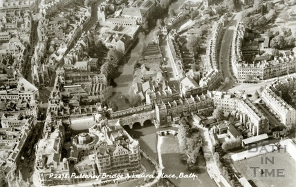 Aerial view of Pulteney Bridge, Laura Place and the Recreation Ground, Bath c.1950