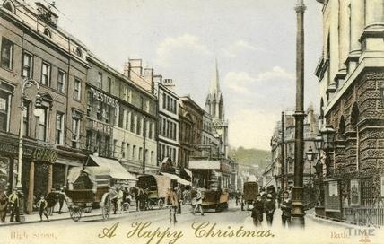 Christmas postcard, High Street, Bath c.1905