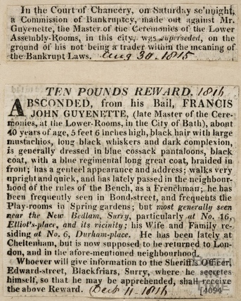 The bankruptcy and absconding of Francis Guyenette, Bath 1816
