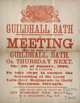 Recruitment meeting poster, Guildhall, Bath 1900