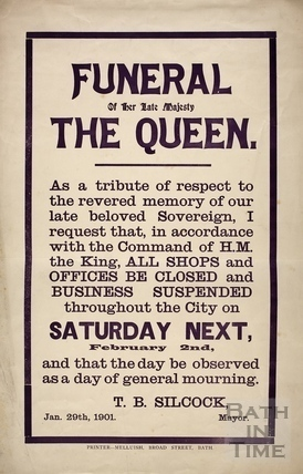 Funeral of Her Late Majesty The Queen poster, Bath 1901