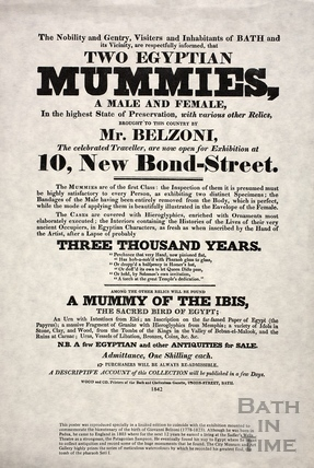 Two Egyptian Mummies exhibition, 10, New Bond Street, Bath 1842