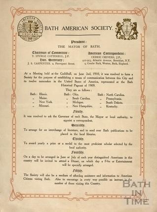 Bath American Society meeting notice 1910