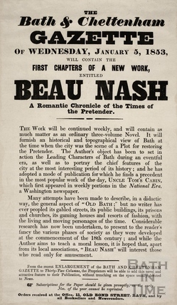First chapters of a new work, entitled Beau Nash, Bath 1853