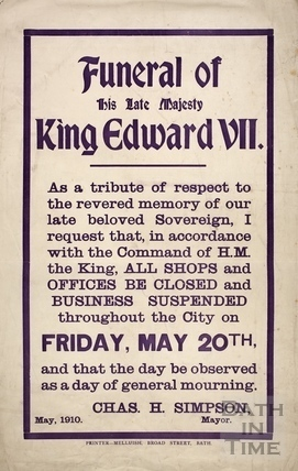 Funeral of His Late Majesty King Edward VII, Bath 1910