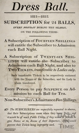 Notice for subscription for 24 dress balls, Bath 1811-1812